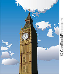 Big Ben - Vector illustration of Big Ben, one of the most...