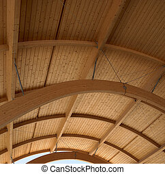 Wooden roof on a modern building. Square.