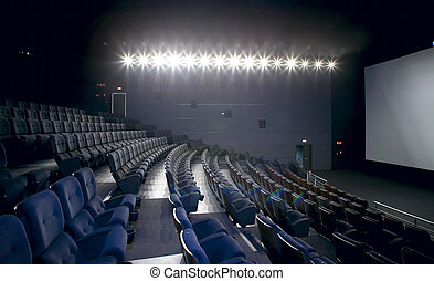 Cinema interior with lights on Chairs and screen Horizontal...