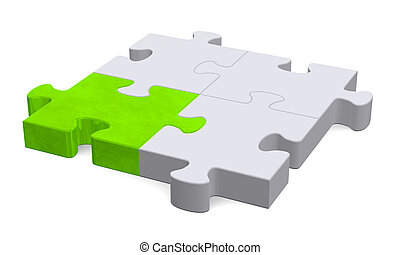 3d puzzle with one green piece, perspective view - 3d grey...