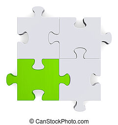 3d puzzle with one green piece on white