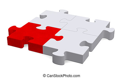 3d puzzle with one red piece, perspective view - 3d grey...