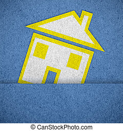 home icon on blue  paper texture background