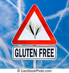 Gluten Free traffic sign with a black silhouette of ears of...