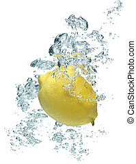 lemon is dropped into water - A background of bubbles...