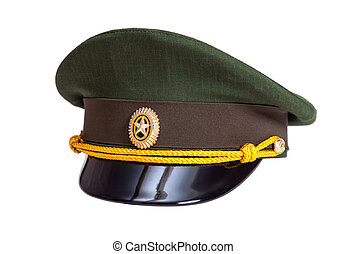 Cap of Russian army officer  isolated on white background