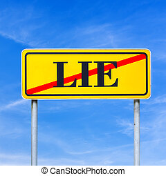 Traffic sign prohibiting lying - Yellow traffic sign...