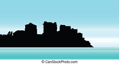 Naples, Florida - Skyline silhouette of the city of Naples,...