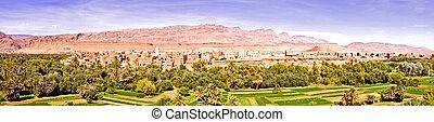 oásis, deserto, Marrocos