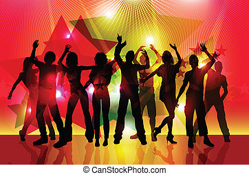 silhouettes of party people dancing on colorful light...