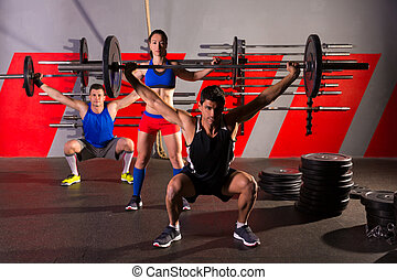 Barbell weight lifting group workout exercise gym - Barbell...