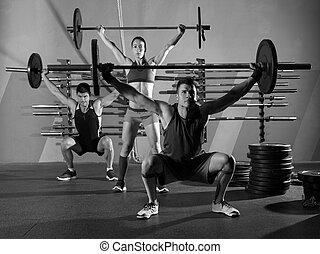 groupe, poids, séance entraînement, Barre disques, exercice,...