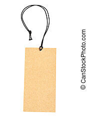 Black price tag - Price tag with black string, isolated on...
