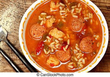 picante, Cajun, pollo, embutido, arroz, Gumbo, tabla