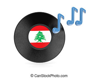 Vinyl disk with flag of lebanon  isolated on white