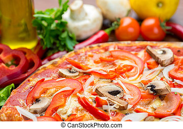 Italian pizza with mushrooms and onion