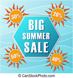 big summer sale text in blue hexagon and 20, 30, 40, 50 percentages off in orange suns, flat design label, business seasonal shopping concept banner
