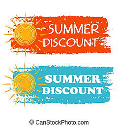 summer discount banners - text in orange and blue drawn...