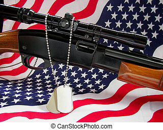 Some Gave All - Military dog tags on a rifle.