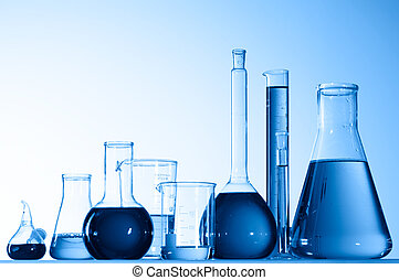 Assorted laboratory glassware equipment ready for an...
