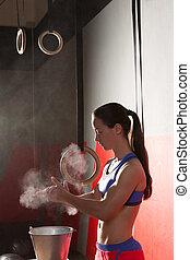 Gym Chalk Magnesium Carbonate hands clap woman - Gym Chalk...