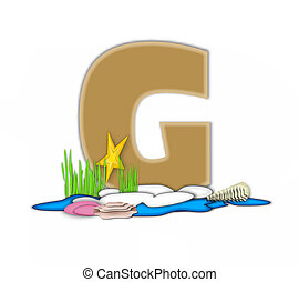 Alphabet Sea Shore G - The letter G, in the alphabet set Sea...