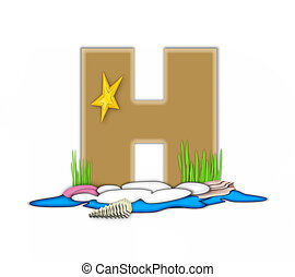 Alphabet Sea Shore H - The letter H, in the alphabet set Sea...
