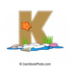 Alphabet Sea Shore K - The letter K, in the alphabet set Sea...