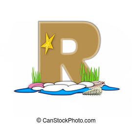 Alphabet Sea Shore R - The letter R, in the alphabet set Sea...