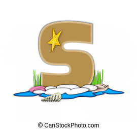 Alphabet Sea Shore S - The letter S, in the alphabet set Sea...