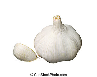 Garlic and cloves isolated on white
