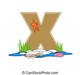 Alphabet Sea Shore X - The letter X, in the alphabet set Sea...