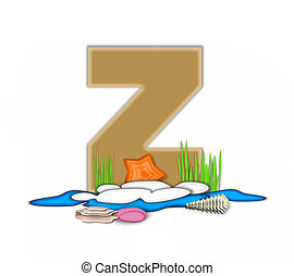 Alphabet Sea Shore Z - The letter Z, in the alphabet set Sea...