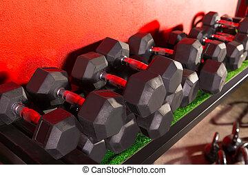 Dumbbells, Kettlebells, peso, treinamento, ginásio