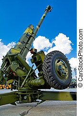 Russian cannon - Howitzer at military exhibition in Nizhniy...