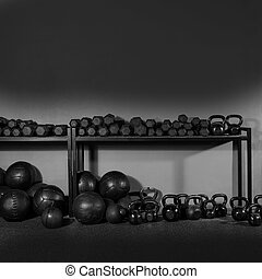 Kettlebell and dumbbell weight training gym