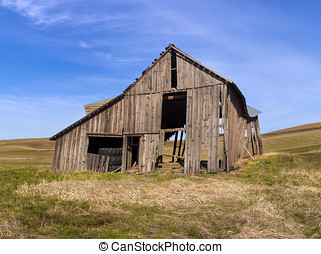 Old barn on the palouse - An old run down barn in a field...