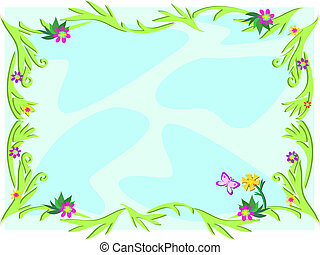 Frame with Vines and Flowers