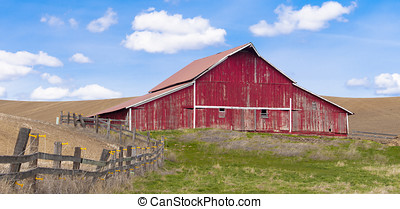 Rural barn panorama. - A panorama of red barn under a blue...