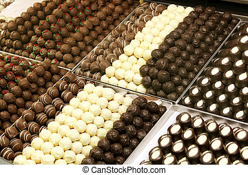 Chocolates Luxury Variety in a Gourmet Shop
