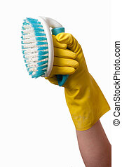 Hand holding scrub brush - Close up of a isolated hand...