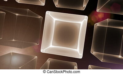Cubic Perspective with Rays of Ligh - dynamic golden cubes,...