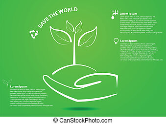 Hand and tree save the world concep