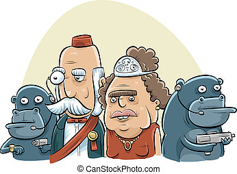 Royal Gorilla Bodyguards - A royal couple is guarded by a...