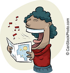 Singing Woman - A cartoon woman sings while holding sheet...