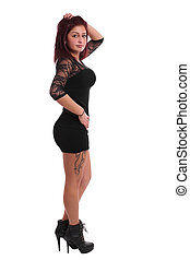sexy young woman - girl with little black dress and high...