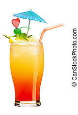 Tequila sunrise Cocktail isolated on a white backgroun