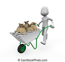 Man Pushing a Wheelbarrow Money - Man Pushing a Wheelbarrow...