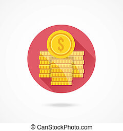 Vector Dollar Coin Stacks Icon