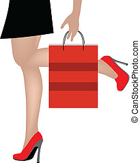 Woman legs with shopping bags - EPS 10 Vector Illustration...